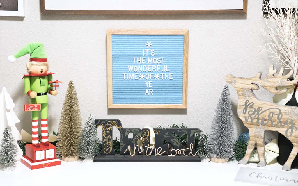 christmas foyer decoration blue felt letter board